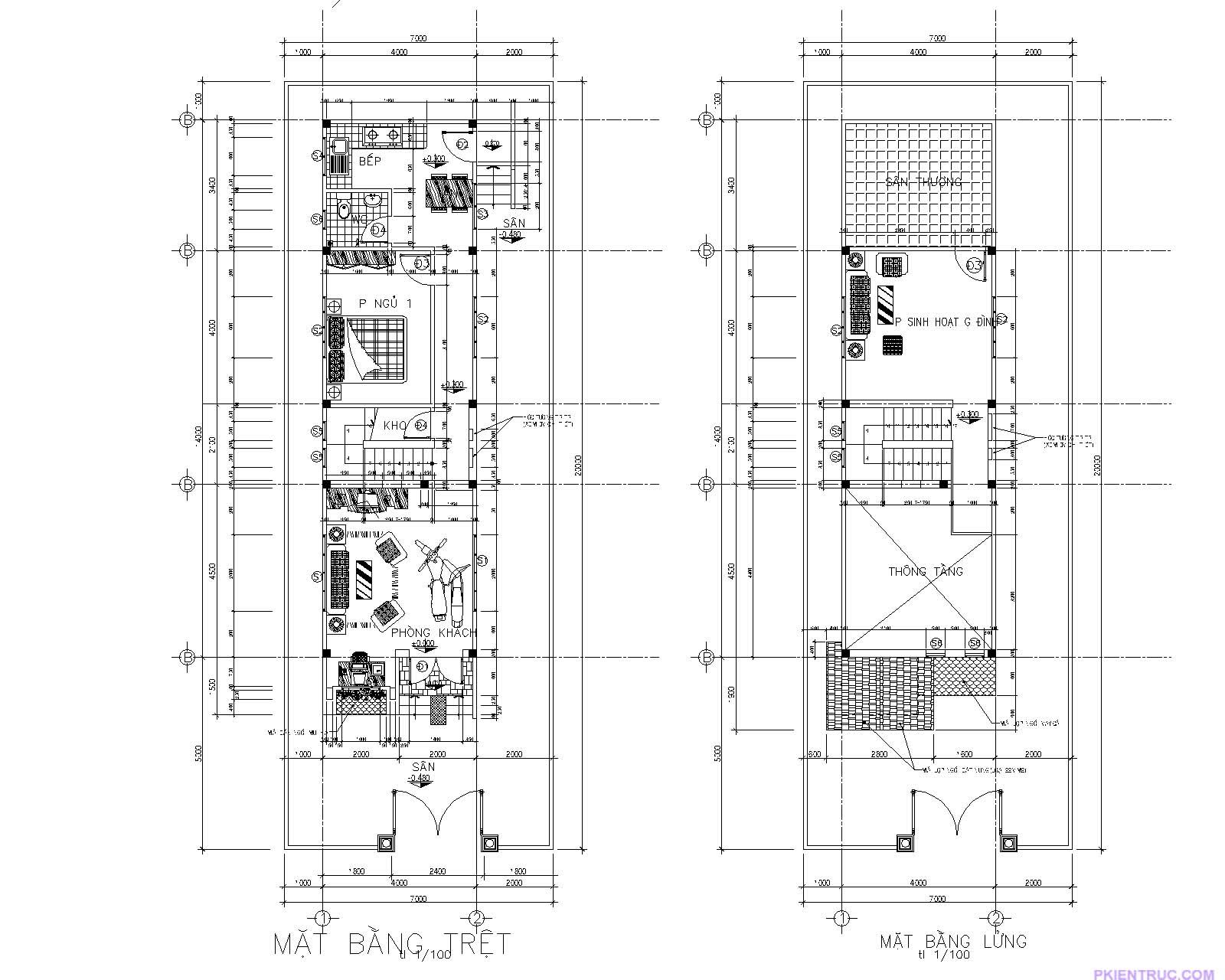 Mặt bằng tầng trệt và tầng lững mẫu nhà cấp 4 mái thái 4x 14 mét