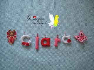 nombre-fieltro-Clara-felt-feltro-elbosquedelulu-hechoamanoparati-decoración-infantil-name-banner-babyroom-regalo-personalizado