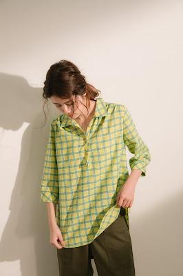 半夏U領襯衫-月光海(檸綠黃格)模特兒實穿