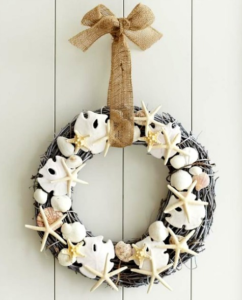 Starfish, Sand Dollar and Shell Wreath
