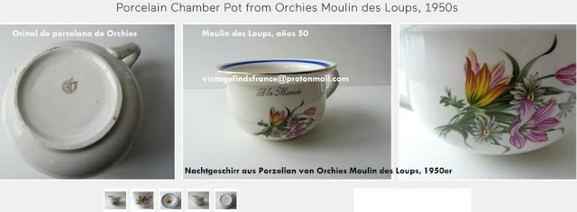 french Mid Century Porcelain Floral Chamber Pot from Orchies Moulin des Loups.