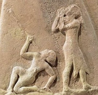 Satuni kneeling over Naram-Sin, after the battle that he defeated to Akkadians.