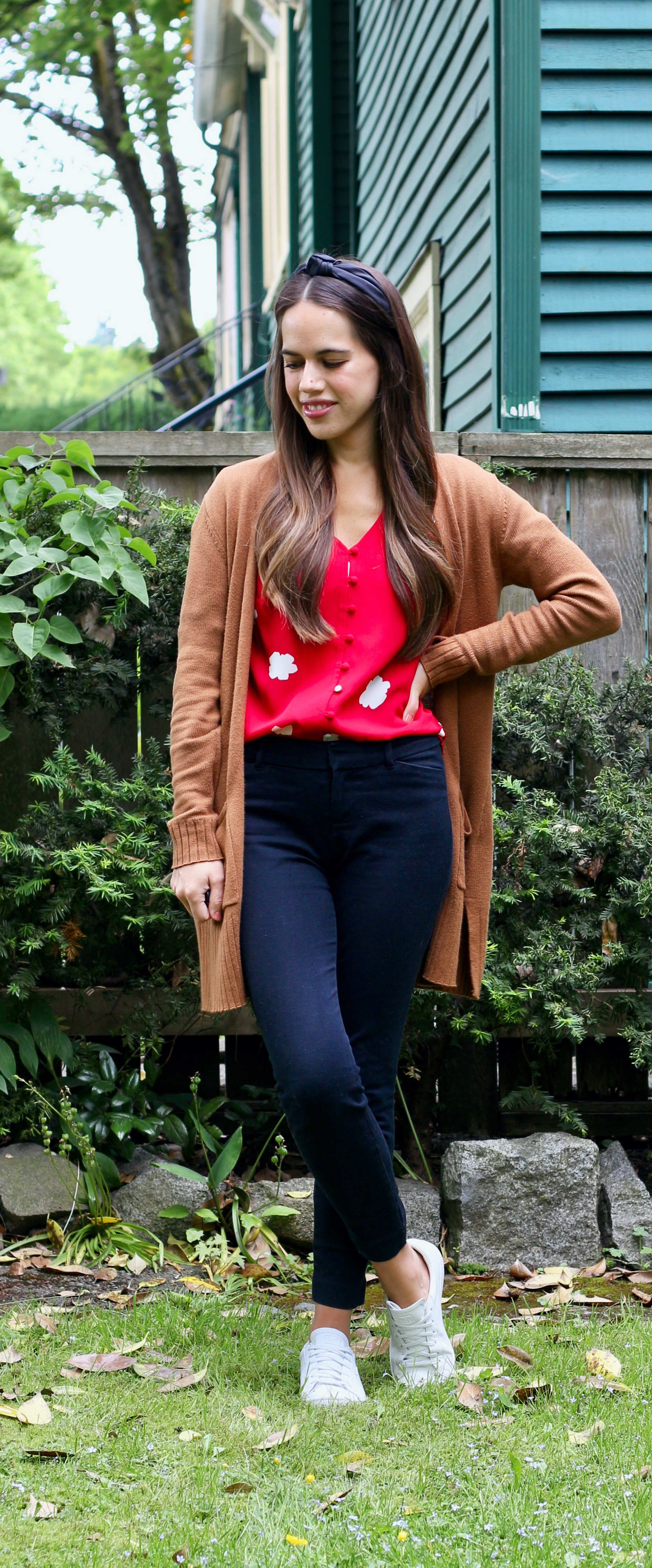 Jules in Flats - Red Floral Blouse with Black Ankle Pants and Headband