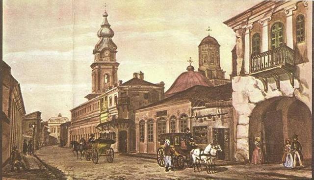 Uliţa Mare -Turnul cu ceas de la Mănăstirea Trei Ierarhi
