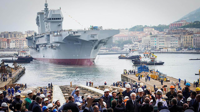 Image Attribute: Trieste (L9890) launched at Fincantieri's Castellammare di Stabia shipyard, dated May 25, 2019.