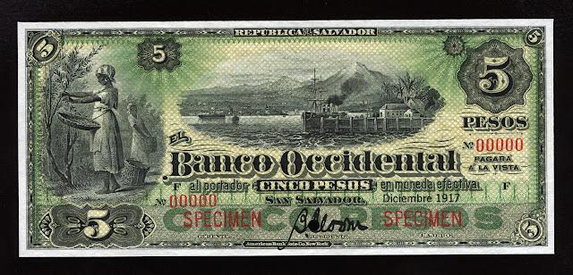 Salvador $ 5 Pesos banknote