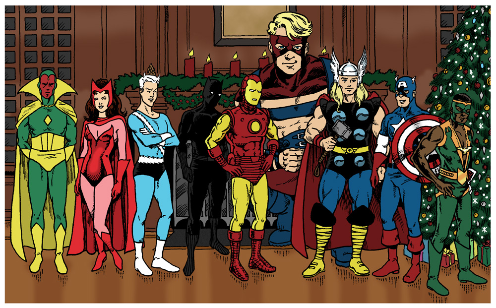 Vision, Scarlet Witch, Quicksilver, Black Panther, Iron Man, Goliath, Thor, Captain America, and the Falcon standing in front of an Avengers Mansion fireplace next to a Christmas tree.