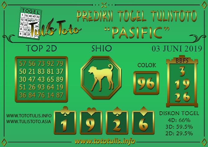 Prediksi Togel PASIFIC TULISTOTO 03 JUNI 2019