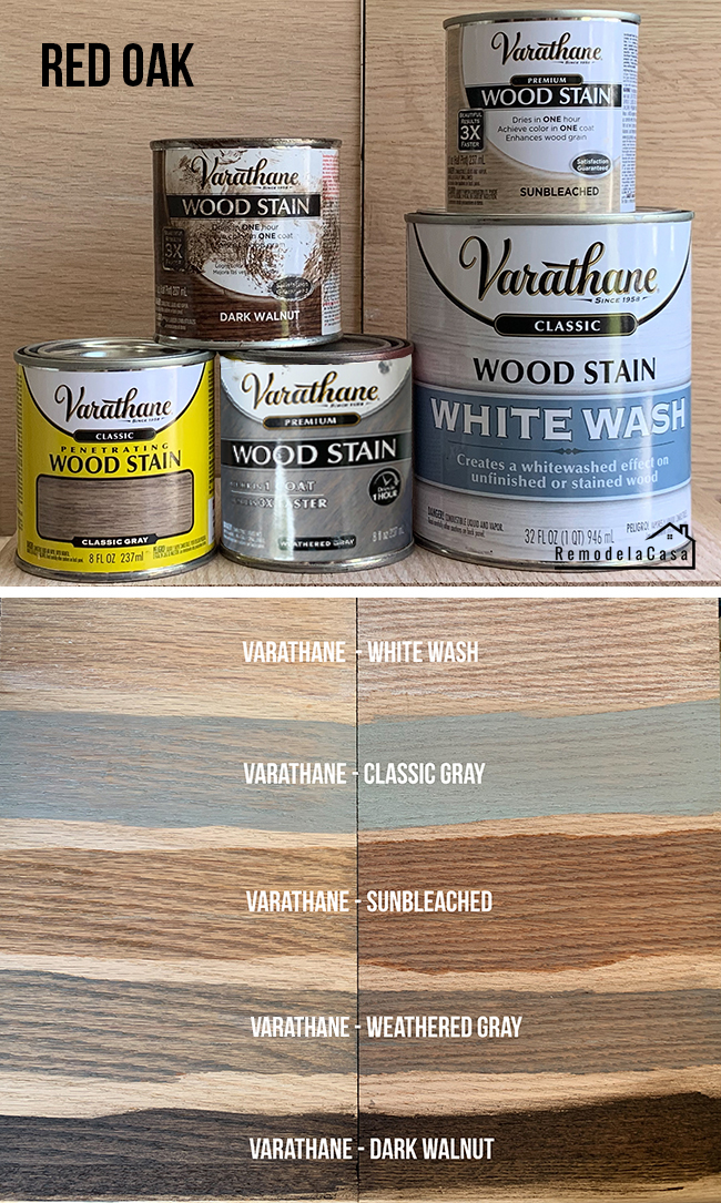 different types of Varathane wood stains being tested on red oak