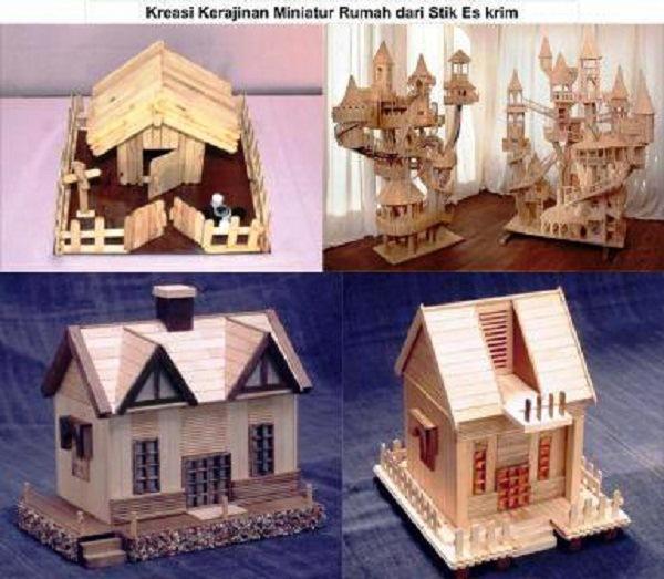 kreasi kerajinan miniatur rumah dari stik eskrim