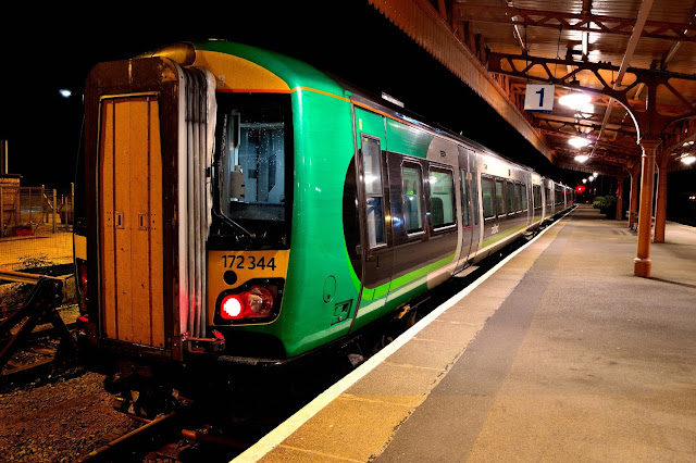 Night Photo of London Midland Trains Class 172 344 DMU parked up for the night in a bay platform at Leamington Spa railway station in 2016
