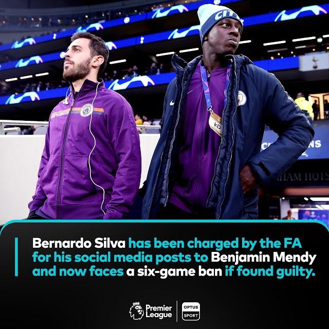 FA Has Charged 'Benardo Silva' For His Racial Social Media Posts To 'Benjamin Mendy'
