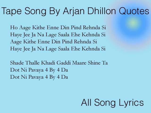 Tape Song By Arjan Dhillon Lyrics