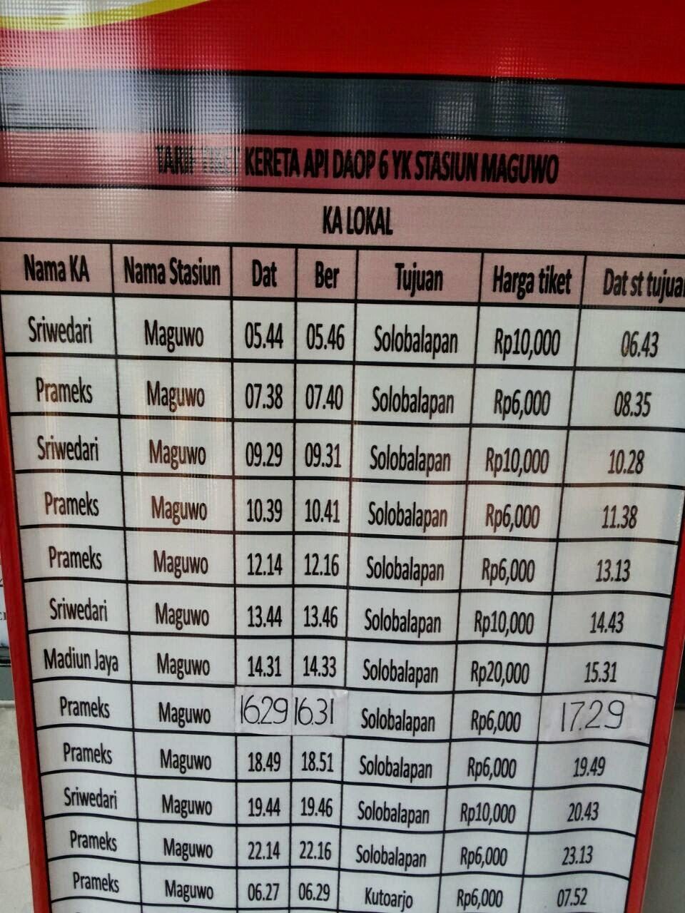 Tarif Kereta Api DAOP 6 Stasiun Maguwo