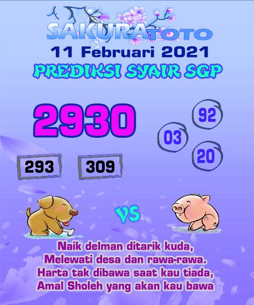 Syair Sakuratoto SGP Kamis, 11 Februari 2021.