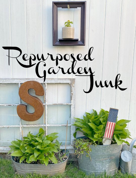 Decorating with Repurposed Garden Junk in the backyard