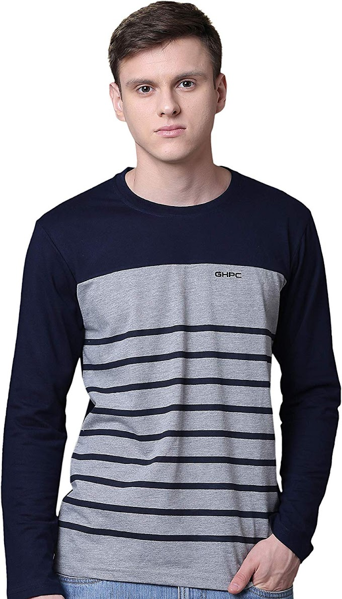 GHPC Color Blocked Poly Cotton Full Sleeve Round Neck Slim Fit Casual Tshirt for Men