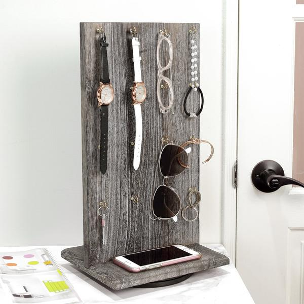 Wooden Rotating Two-Sided Jewelry Display Stand 32 Hooks in Gray from Nile Corp