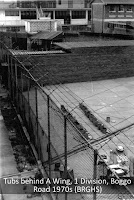 Sanitary tubs, exercise yard, No.1 Division, Boggo Road, Brisbane, 1970s.