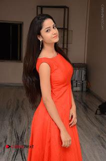Telugu Actress Divya Nandini Stills in Orange Sleeveless Gown at Chennai Chaitrama Movie le Launch Event  0013.JPG
