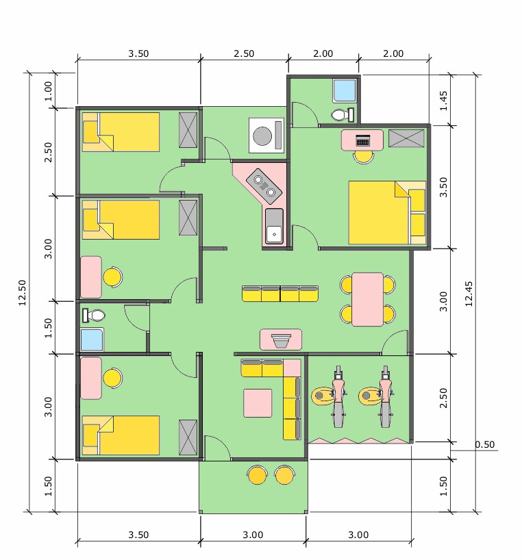 denah rumah ukuran 6x10 minimalis satulantai 3