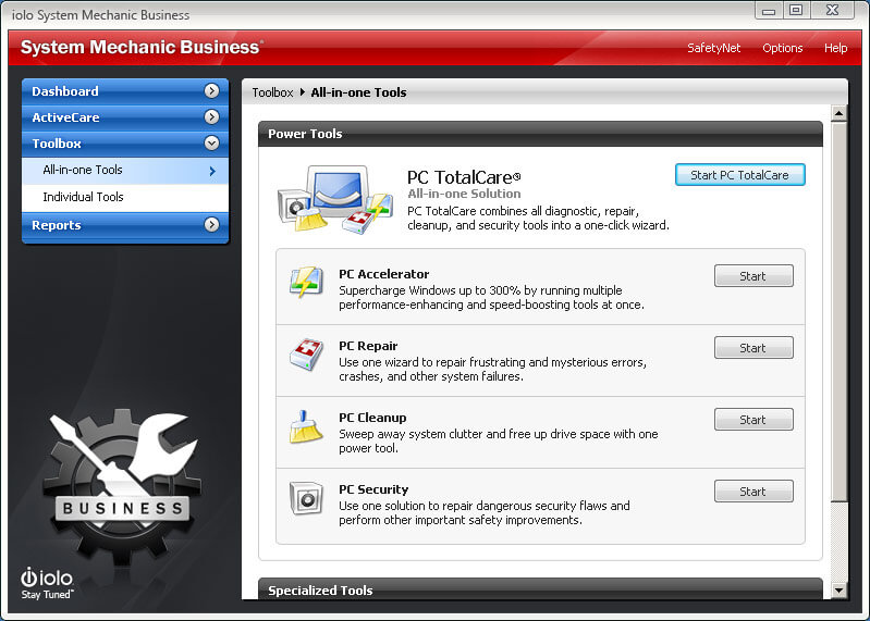 System Mechanic Business All-In-One Tools Screenshot