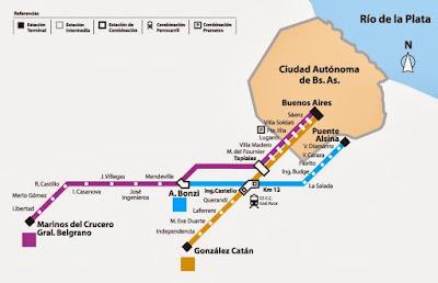 Mapa del Ferrocarril Belgrano Sur