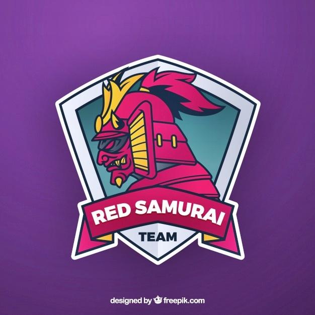 Contoh desain mentahan logo red samurai