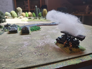 Soviet rocket launcher opens fire on the German defences