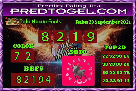 Pred Macau Rabu 29 September 2021
