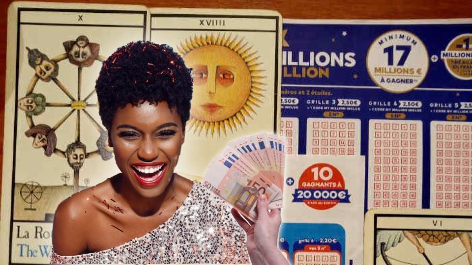 Une grille de loto, une autre d'euromillions et des cartes de tarot