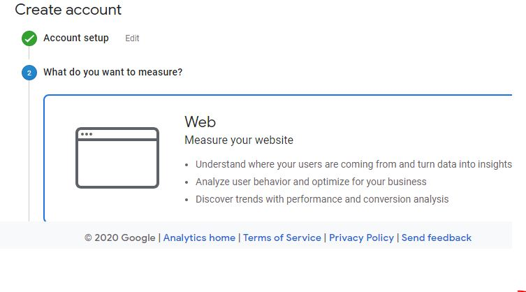 create a property on google analytics