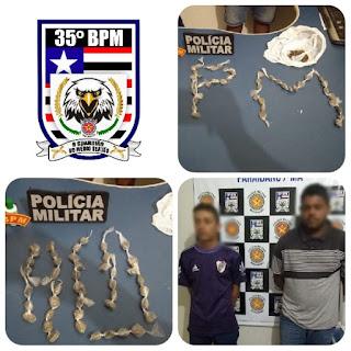 POLICIAIS MILITARES DO 35º BPM PRENDEM EM FLAGRANTE DOIS TRAFICANTES COM POSSE DE 44 TROUXAS DE MACONHA, NA CIDADE DE PARAIBANO-MA