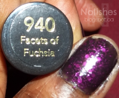 Revlon 'Facets of Fuchsia' - a black crelly polish with purple glitter