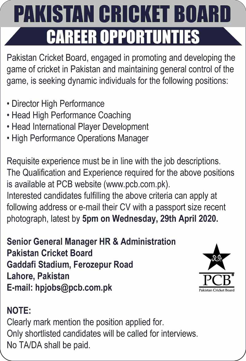Jobs in PCB Lahore Board April 2020