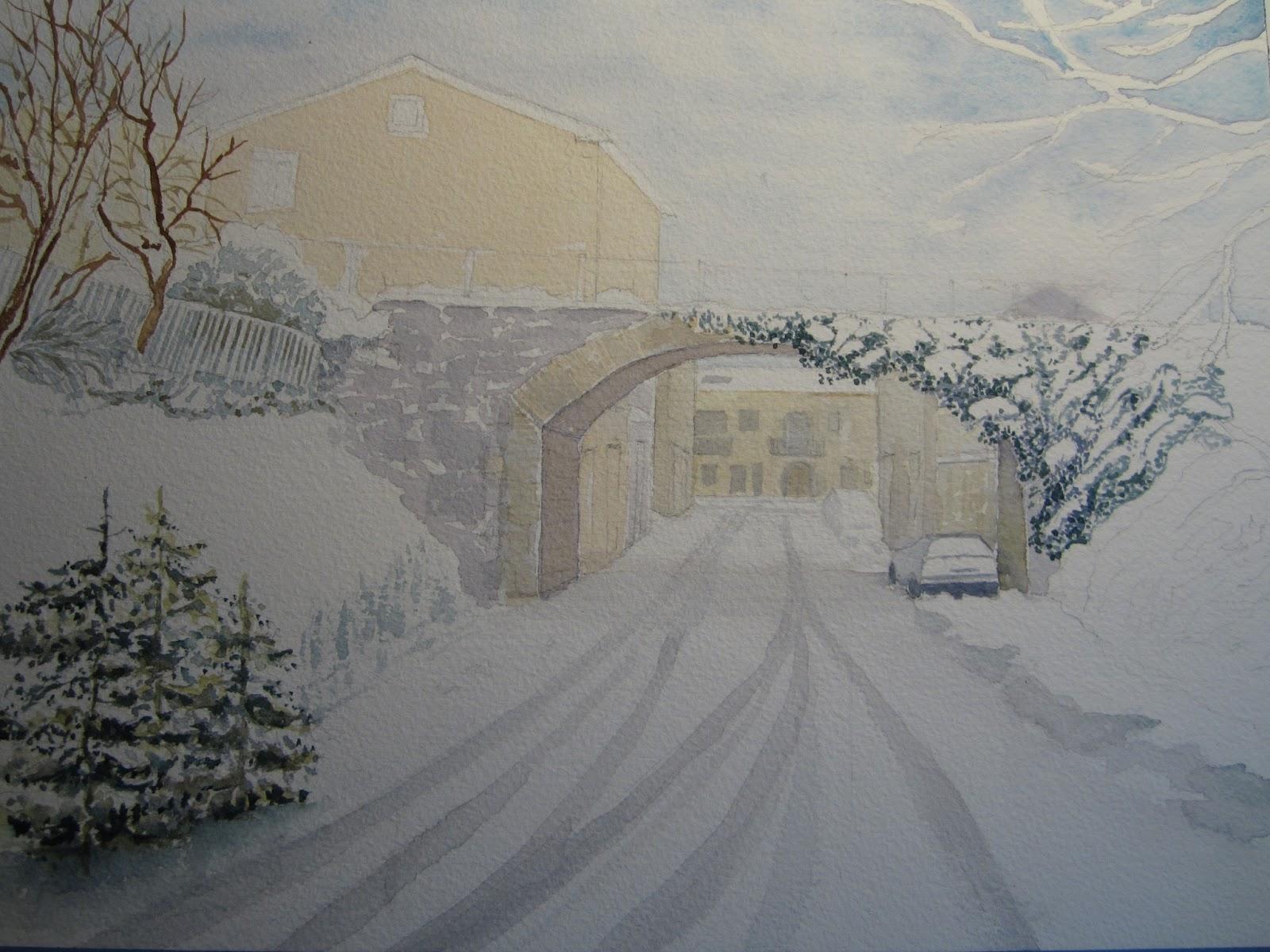 CIAM Prima lezione di acquerello del 2013 paesaggio invernale casacalendese