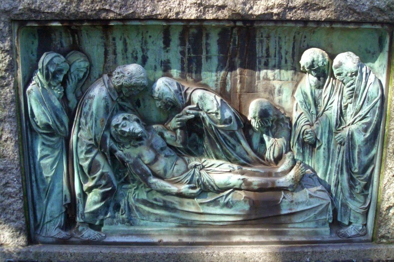 http://commons.wikimedia.org/wiki/Stations_of_the_Cross#/media/File:Leichnam_Jesu_-_Wilhelm_Haverkamp_-_Mutter_Erde_fec.jpg