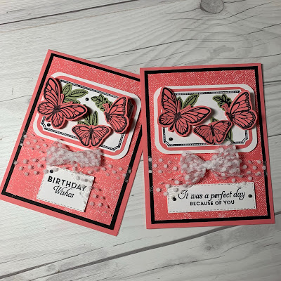 Two butterfly greeting cards using Fluttering Dies from Stampin' Up!
