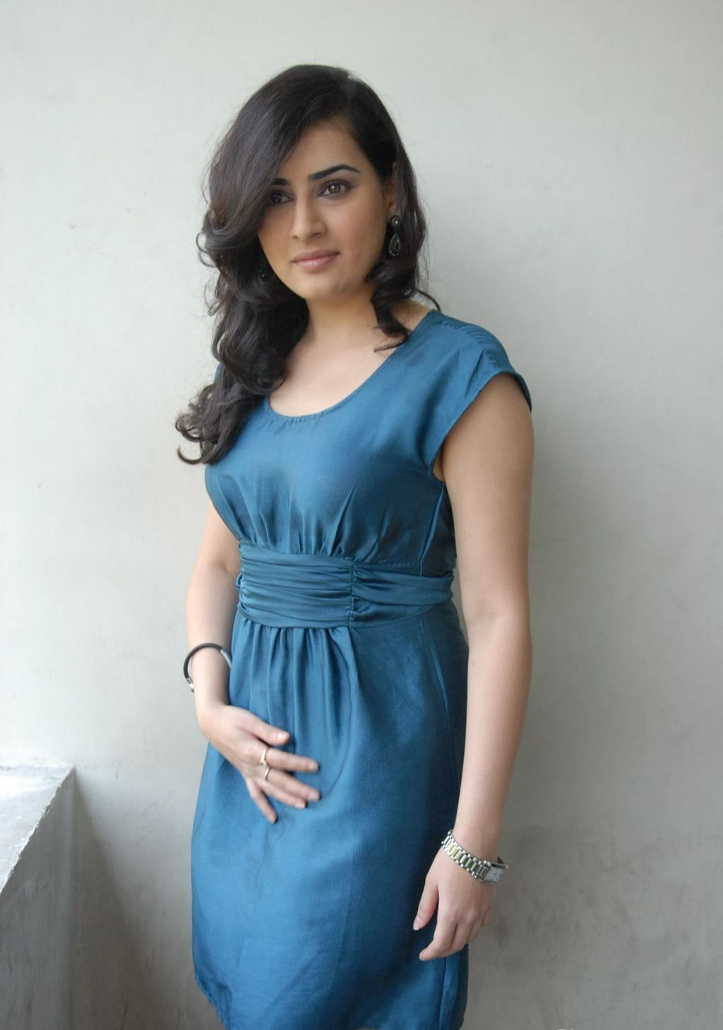 sweet perfect beautiful Archana latest stills in blue short dress