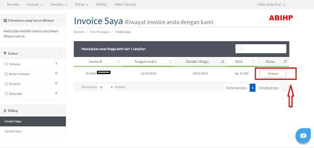 Alhamdulillah sudah berubah statis invoice pembelian domain menjadi terbayar.
