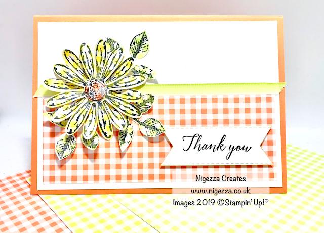 #GDP181  Nigezza Creates, Stampin Up, Gingham Gala, Daisy Delight