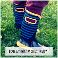 Bogs children's wellies, in a blue and yellow stripe.