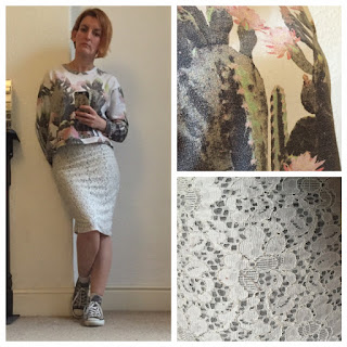 Zara white lace skirt and printed sweatshirt