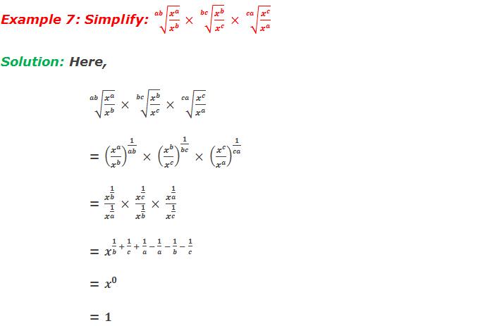 Example 7: Simplify: √(ab&x^a/x^b )  × √(bc&x^b/x^c )  × √(ca&x^c/x^a )