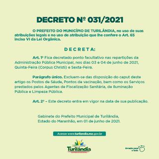 Paulo Curió decreta ponto facultativo nos dias 3 e 4 de junho