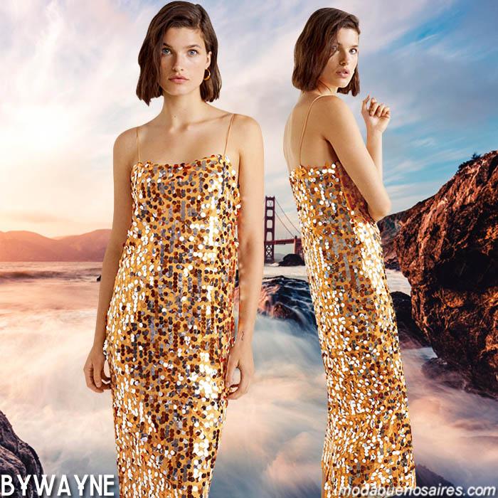 Vestido de lentejuelas primavera verano 2020. Moda 2020.