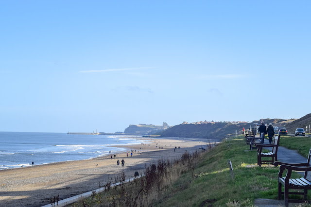 Walking Whitby to Sandsend - view of Whitby from Sandsend