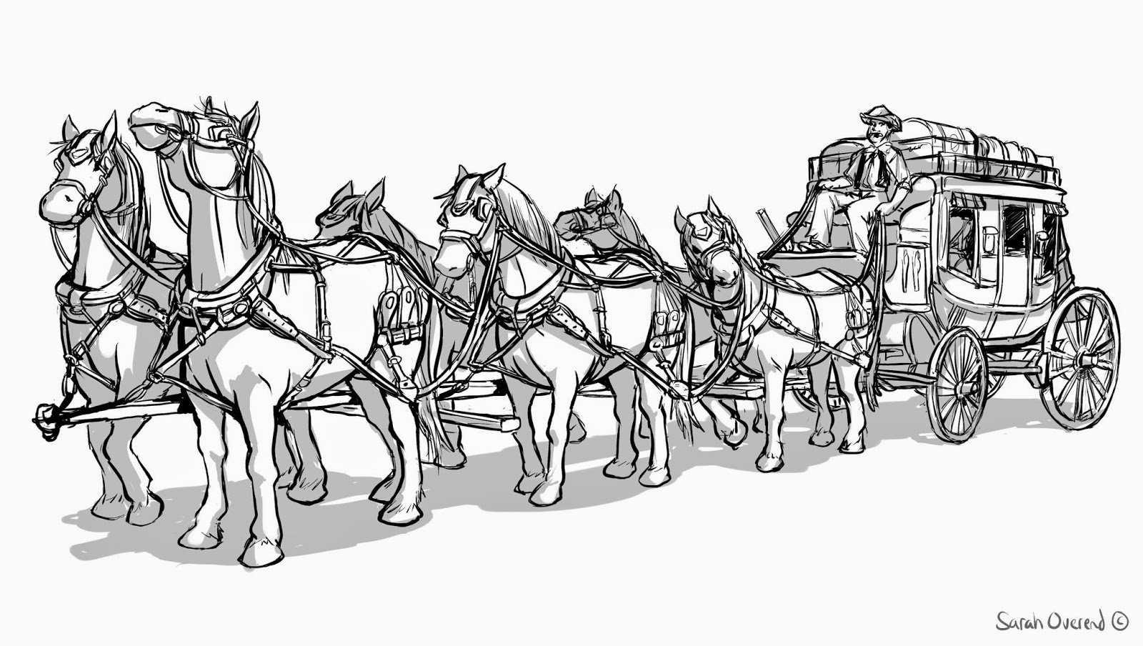 Stagecoach Horse Coloring Pages Sketch Coloring Page