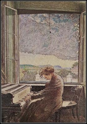 Μια εξιδανικευμένη ζωγραφιά του Μπετόβεν ενώ συνθέτει στο πιάνο του.
