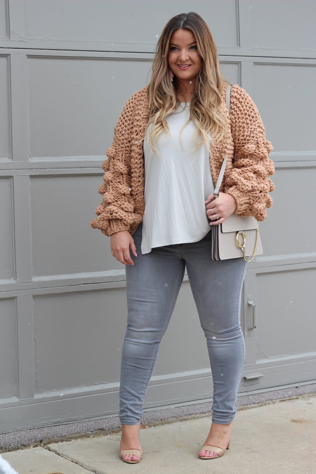 My favorite pom pom cardigan by popular Denver fashion blogger Delayna Denaye
